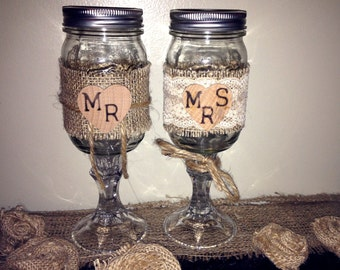 Bride and Groom / Mr. and Mrs. Rustic Burlap, Lace, Wood Stamped Redneck / Hillbilly Wine Glass Toasting Flutes