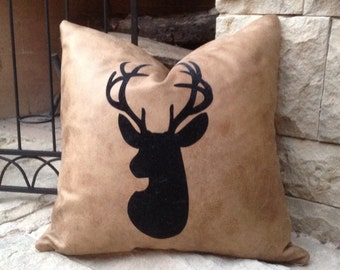 Faux Deer Hide Pillows : Black flocking wildlife Deer Head silhouette bonded to faux distressed leather pillow slip cover ...