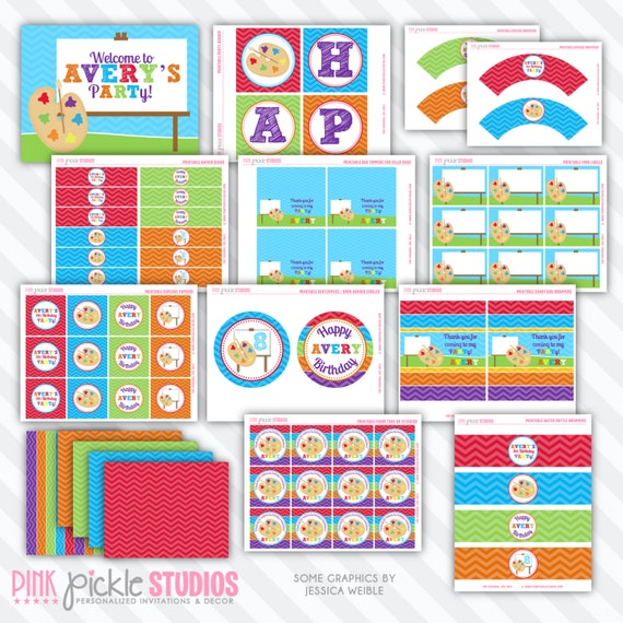 Rainbow ART Birthday Party Printables Package Personalized Printable Decorations & Kits Design No. 401