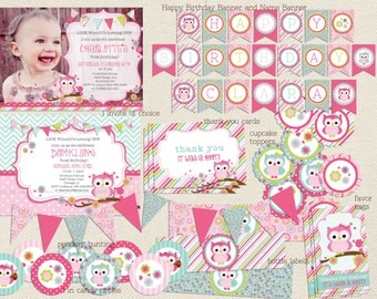 Owl birthday invitation and Owl Party Package - Look whoooo's turning..