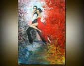 Original Watercolor Painting - Tango Dancers - Love Couple - Abstract Figurative Painting - Fine Art By Gargovi