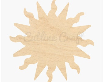 Sun Cutout 41 Crafts, Gift Tags Ornaments Laser Cut Birch Wood Various Sizes