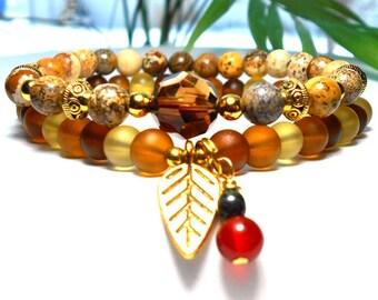 Leaf Bracelet, Yellow Bracelet, Boho Bracelet, Nature Bracelet, Gemstone Bracelet, Fall Bracelet, Autumn Bracelet, Fall Colors Bracelet