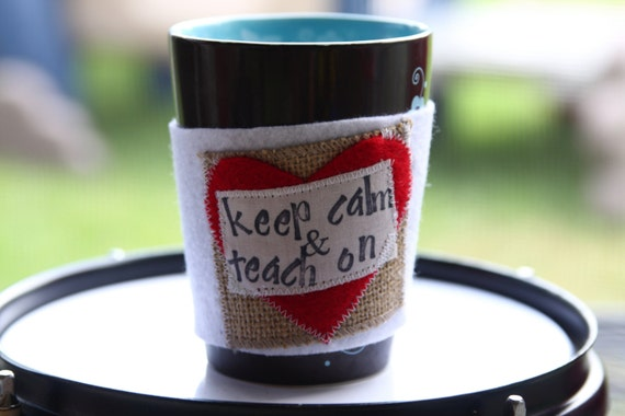 Gifts for Teachers - Valentines Day - Back to School -  Personalized Coffee Cozy  - Coffee Cozie - Coffee Cozy -