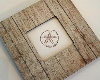 Coastal decor barnwood frame, Driftwood Picture frame, Photo frame, Decoupaged frame