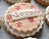 25 peach wedding favour/favor cookies
