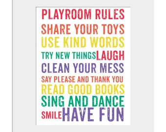 Playroom Rules- Wall Decor- Kids Wall Prints- Rules for Playroom- Kids Room Decor- Primary Colors Print