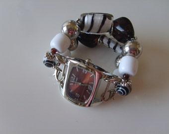 Womens Watch/Womens Brown Watch/Beaded Watch/Watch/Brown Watch Band/Womens Brown Watch Band/Stretch Watch Band/Womens Beaded Watch (57)