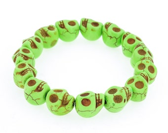 Day of the Dead Jewelry Howlite Skull Bracelet-Green