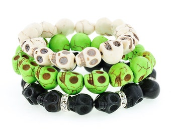 Day of the Dead Jewelry Triple Stack Bracelets-Green/Cream/Black