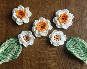 Handmade crocheted flower appliques
