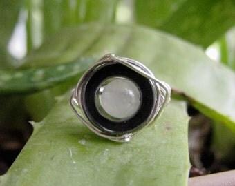 SALE!! Grounding Hematite Ring, Semi Precious Stones, Rose Quartz,  Wire Wrap Ring,  Intuition Chakras, Gift Idea