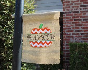 Custom Burlap Fall/Thanksgiving Pumpkin Garden Flag With Chevron Print Fabric
