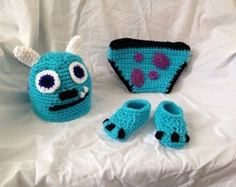 "Crocheted Baby ""Monsters Inc Sully Inspired"" Hat Diaper Cover & Shoe Set"
