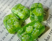 Green Glass Floral Beads, 15mm, Rectangle, Accent, Spacer, Focal, Jewelry Making, 088