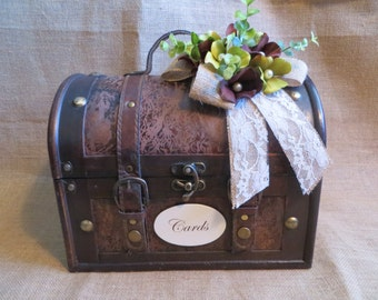 Pick Your Ribbons and Flowers - Wedding Trunk, Wedding Card Holder, Card Box, Money Holder, Money Box, Wedding Suitcase, Rustic Wedding Box