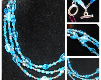 "14 1/2"" aqua blue 3 strand necklace"