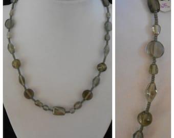 """16 1/2"""" grey necklace"""