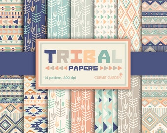 INSTANT DOWNLOAD 14 Tribal aztec Digital Papers Pack. (paper crafts,card making,scrapbooking)