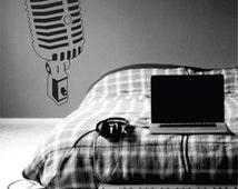 Retro 50s Radio Microphone Wall Decal Sticker