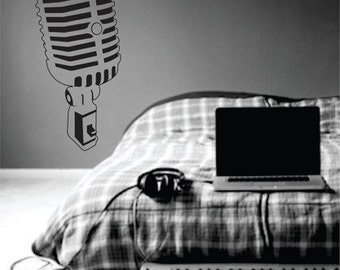 Retro 50s Radio Microphone Wall Decal Sticker