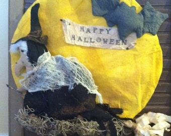 Primitive Halloween Witch Flying over the Full Moon Wall/Door Hanging