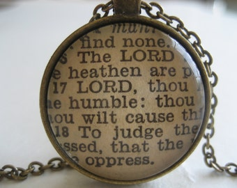 The Lord is King Scripture Necklace Bible Verse Psalm 10:16-18 From an Antique Bible OOAK