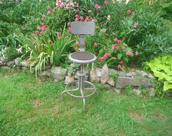 Vintage Metal Industrial Swivel Chair Lightly Rusted Patina