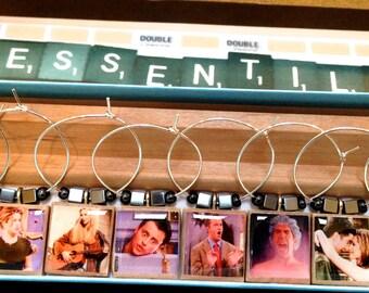 Friends TV Show Scrabble Tile Wine Glass Charms