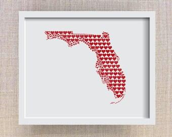 Florida Art Print - 8x10 Florida Heart Map - State Heart Print, Florida Gift, Florida Wedding, Florida Love