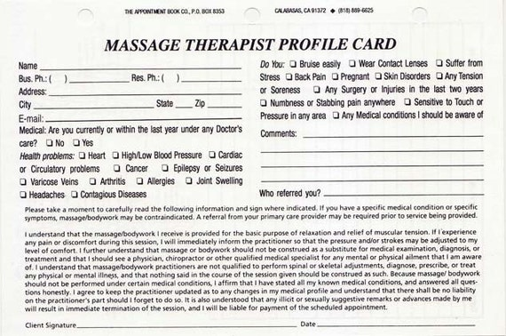 Massage Therapist Client Profile Cards Pack of 100 (Refills Only)