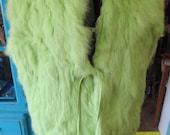 Vintage Carrie Allen Chartruese Rabbit Fur Vest