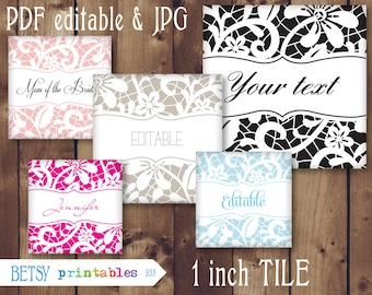 Editable 1 inch tile Digital Image, lace 1 inch image, wedding favor, scrabble collage sheet- Instant Download - 233