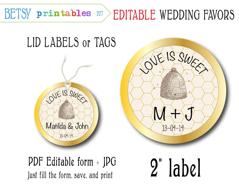 Wedding Favor Honey Tags : Mason Jar Wedding favor for honey editable tags by BetsyPrintables