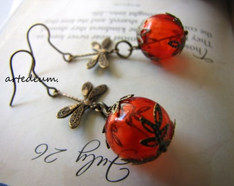 Dragonfly Earrings in orange and Antique bronze vintage glass ball and insect dangles  Valentines day gift for her