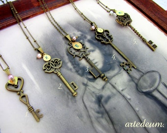 Bridesmaid Gift Set of four Necklaces Keys with Personalized Initials - Will you be my bridesmaid?