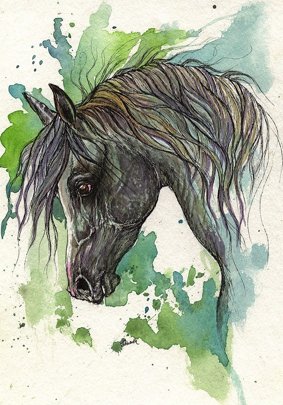 Dark grey arabian horse original  ink and watercolour painting