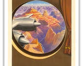 Grand Canyon, Arizona - Trans World Airlines TWA Flies Direct by Unknown c.1950s 12 x 18 Vintage Digital Poster Art Print