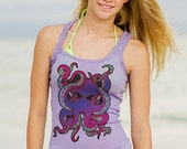 Flokoko Tribal Octopus - Lavender / Purple Ribbed Racerback Tank Top - Flokoko