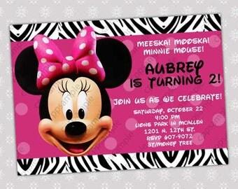 Minnie Mouse Birthday Invitation - Minnie Mouse Birthday Invite - Zebra Background -  Digital File