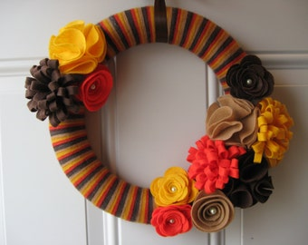 Fall Wreath, Yarn wreath, Striped Wreath, Brown, Yellow, Orange Wreath,  Door Wreath, Fall Decor