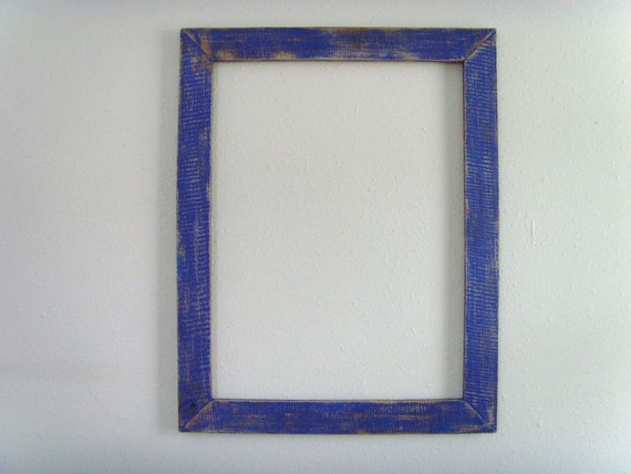 18x24 Distressed Blue Barn Wood Frame Reclaimed And