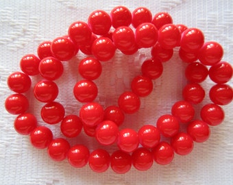 26  Bright Lipstick Red Opaque Round Ball Glass Beads  8mm