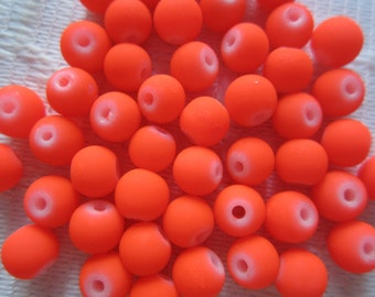 25  Neon Coated Bright Orange Round Glass Beads   6mm