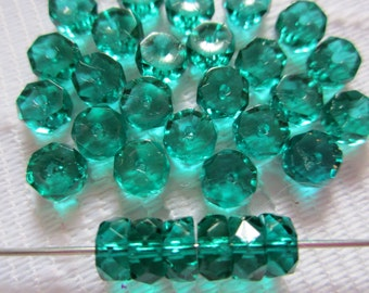 25  Emerald Green Transparent Faceted Disc Czech Glass Beads  6mm