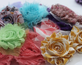 Grab bag...25 pieces sampler pack--shabby chic  chiffon frayed rosette trim/ shabby chic rosette/ shabby trim