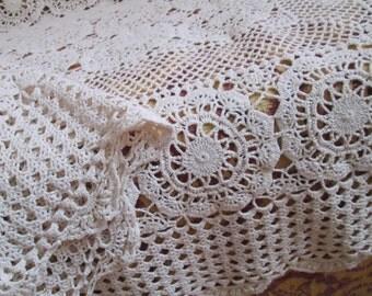 Antique Crochet Bedspread Tablecloth Throw  Ecru Handmade Lace 60 x 46