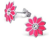 Pink Daisy Enamel Stud Earrings CZ Crystal Centre, Timeless Jewellery in Happy Fashion Trend, Girl Gifts UK