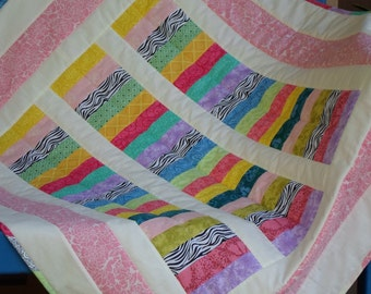 Handmade Baby Quilt Cotton Stripes