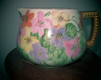 Limoges  Viganu Pitcher Vase Hand Painted Signed 1951 May Scraborough